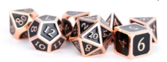 Metallic Dice Games - 16mm Metal Polyhedral Dice Set: Antique Copper with Black Enamel