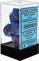 7-die Polyhedral Set - Vortex Blue with Gold - CHX27436