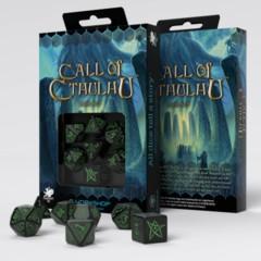 Q-Workshop - Call of Cthulhu 7-die RPG Dice Set (Black / Green)