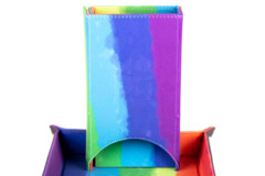 Metallic Dice Games - Velvet Folding Dice Tower (Watercolor Rainbow)