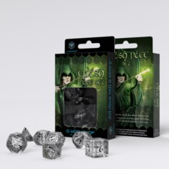 Q-Workshop - Elvish RPG Dice Set (Translucent Black)