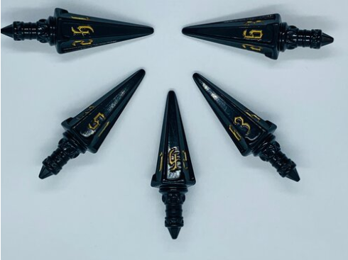 PolyHero Dice - The Rogue: Level Up Pack 5d6 Swords (Nightshade & Thieves Gold))