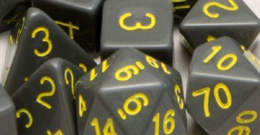 Role 4 Initiative - Opaque Dark Gray with Gold Set of 7