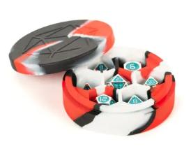 Metallic Dice Games - Silicone Round Dice Case - Red / Black / White (MET 921)