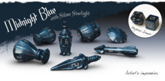PolyHero Dice - The Rogue 7-dice Set (Midnight Blue & Silver Starlight)