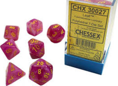 7-die Polyhedral Set - Leaf Fuschia with Yellow & Luminary Effect - CHX30027