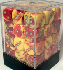 36 D6 Dice Block - 12mm Gemini Red-Yellow with Silver - CHX26850