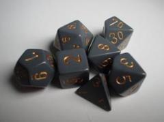 7-die Polyhedral Set - Opaque Dark Grey with Copper - CHX25420