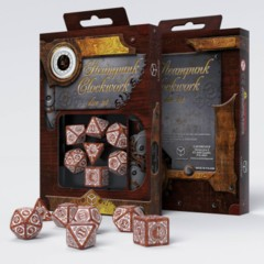 Q-Workshop - Steampunk Clockwork 7-die RPG Dice Set (Caramel & White)
