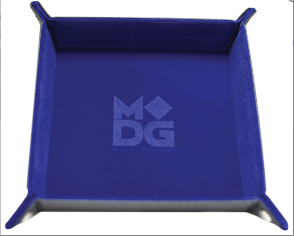 Metallic Dice Games - Velvet Folding Dice Tray with Leather Backing 10x10 (Blue) (MET532)