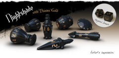 PolyHero Dice - The Rogue 7-dice Set (Nightshade & Thieves' Gold)