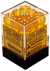36 D6 Dice Block - 12mm Translucent Yellow with White - CHX23802