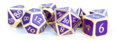 Metallic Dice Games - 16mm Metal Polyhedral Dice Set: Gold with Purple Enamel