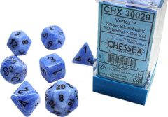 7-die Polyhedral Set - Vortex Snow Blue with Black - CHX30029 (Black Light Reactive!)