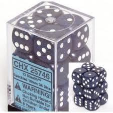12 D6 Dice Block - 16mm Speckled Stealth - CHX25746