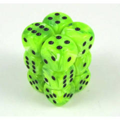 12 D6 Dice Block - 16mm Vortex Bright Green with Black - CHX27630