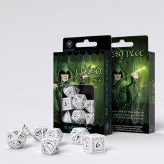Q-Workshop - Elvish RPG Dice Set (White & Black)