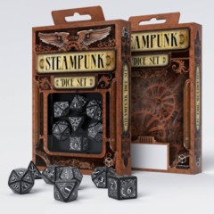 Q-Workshop - Steampunk 7-die RPG Dice Set (Black & White)