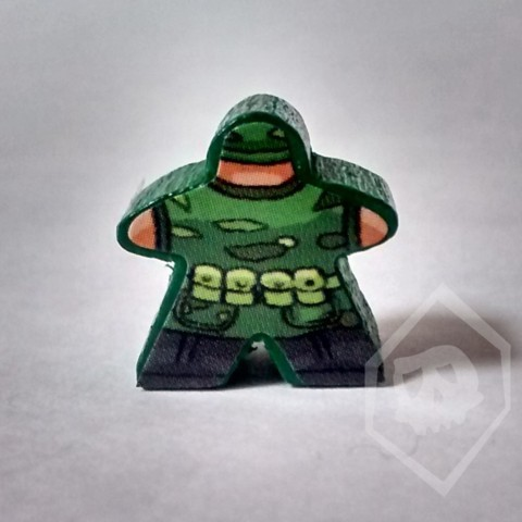 Green Stickered Meeple from Terror in Meeple City