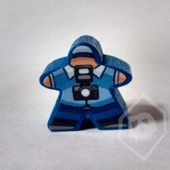 Blue Stickered Meeple from Terror in Meeple City