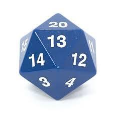 Dice opaque 55mm JUMBO d20 koplow