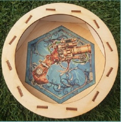 Circular Wooden Dice Tray - Steampunk: blue panther