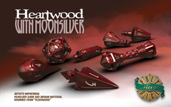 Dice: PRESALE PolyHero Wizard Set - Heartwood with Moonsilver game salute