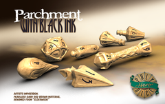 Dice: PRESALE PolyHero Wizard Set - Parchment with Black Ink game salute