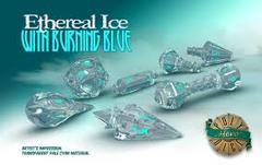 Dice: PRESALE PolyHero Wizard Set - Ethereal Ice with Burning Blue game salute