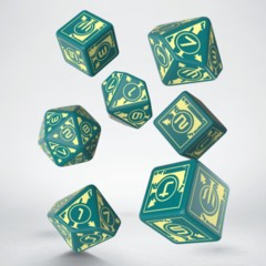 Q-Workshop Dice: PRESALE Polaris turquoise + light yellow set