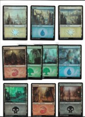 Set of all 10 Ravnica Weekend FOIL promo basic lands