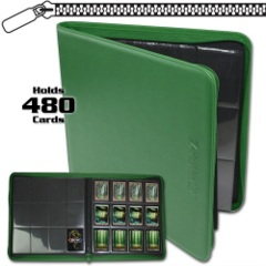 BCW: GREEN 12 pocket 480-card playset zippered LX binder