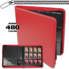 BCW: RED 12 pocket 480-card playset zippered LX binder