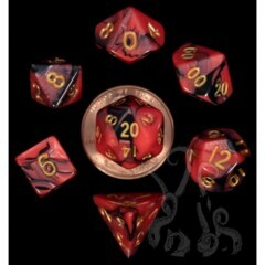 Mini Polyhedral Dice Set - Red/Black with Gold