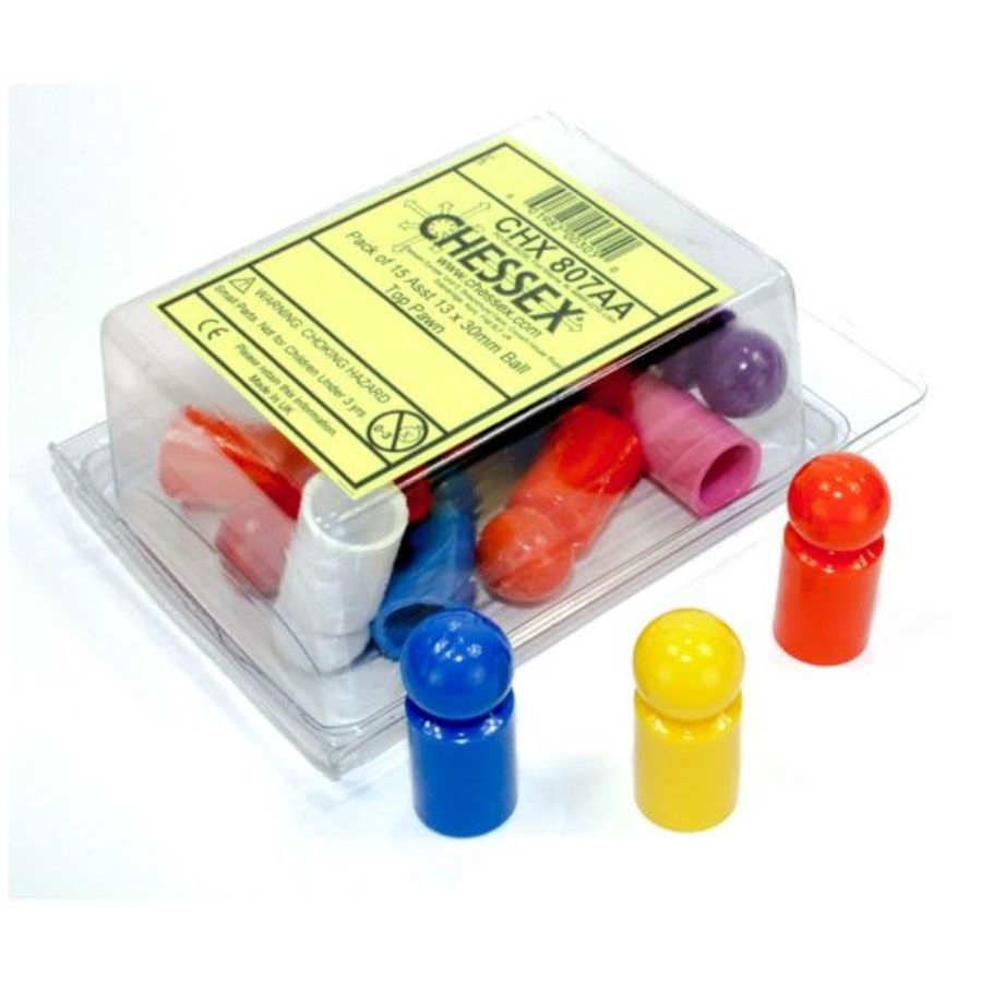 GAME COMPONENTS PACK: BALL TOP PAWN 13MM X 30MM ASSORTED (15CT)