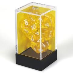 Translucent Yellow/White Polyhedral 7-Die Set - CHX23072