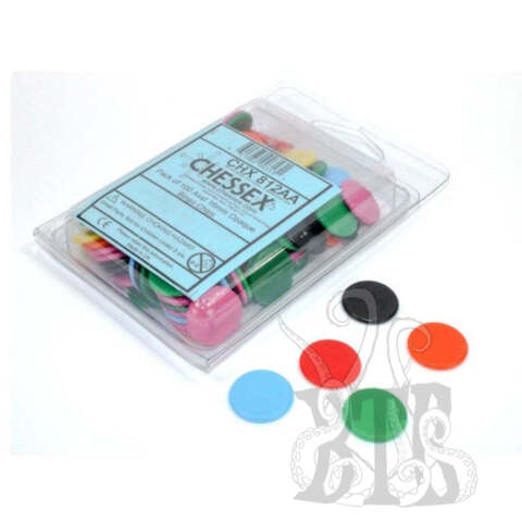 GAME COMPONENTS PACK: OPAQUE BINGO CHIPS 16MM ASSORTED (100CT)