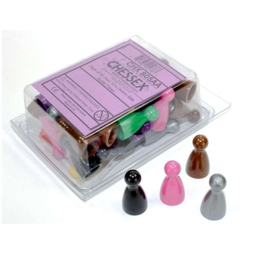 GAME COMPONENTS PACK: MILK BOTTLE PAWN 12MM X 24MM ASSORTED (50CT)