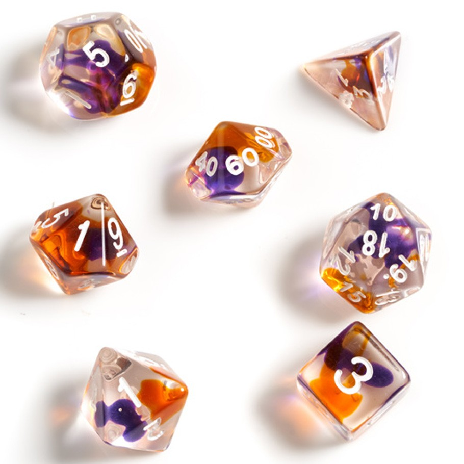 Dice Set - Purple, Orange, Clear