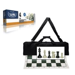 Deluxe Tournament Chess Set - Black Canvas Bag 4 Inch King – Triple Weighted