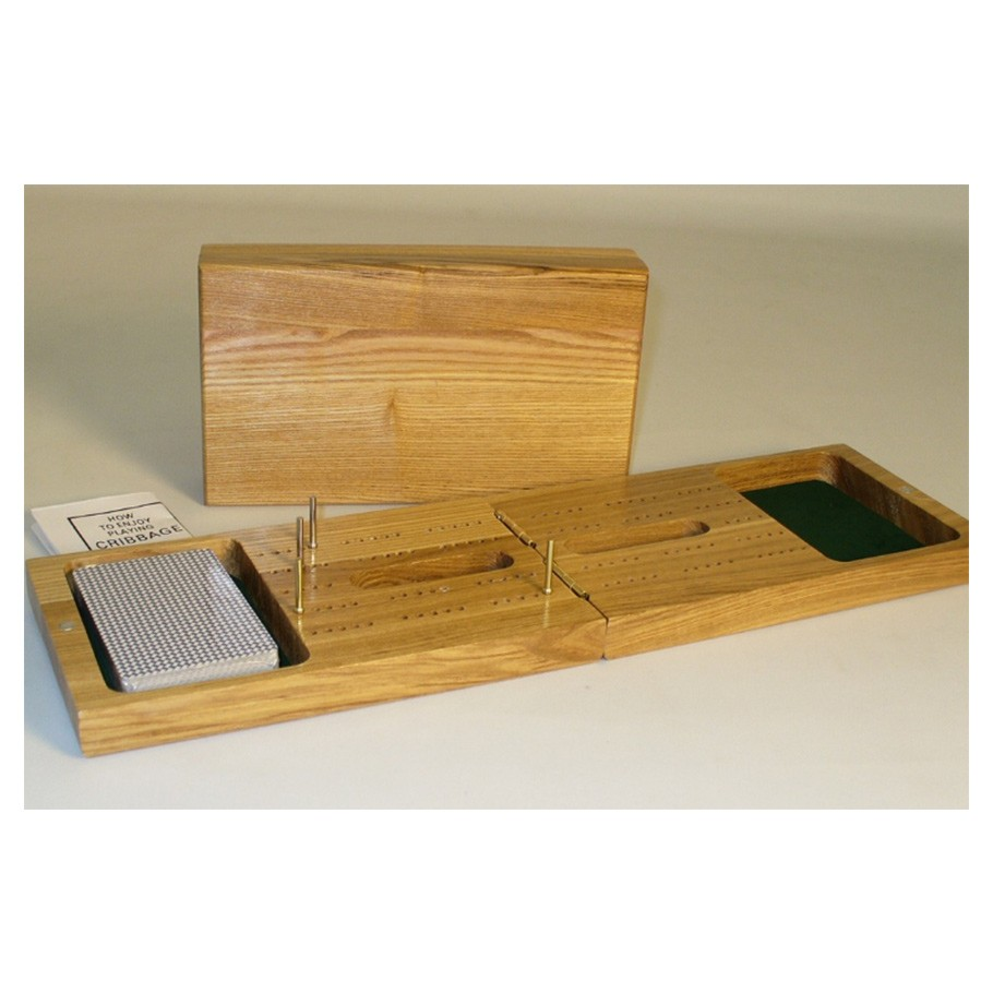 2-Player Oak Wood Folding Cribbage Board Set