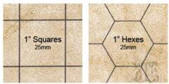 BATTLEMAT - REVERSIBLE: 1 INCH SQUARES AND HEXES, 23 1/2 X 26 INCHES