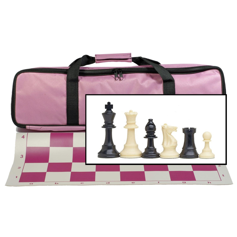Tournament Chess Set with Pink Bag