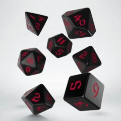 Classic Runic Dice Set - Black & Red