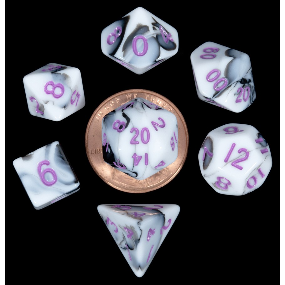 Mini Polyhedral Dice Set: Marble w/ Purple Numbers