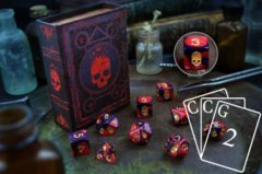 Infinite Black - Elder Dice: 9Ct Polyhedral Set -  Mark of the Necronomicon (Red)