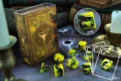 Infinite Black - Elder Dice: 9Ct Polyhedral Set - Sign of Hatur (Yellow)