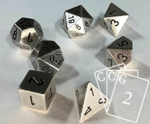 7-Die Solid Metal Silver Chessex