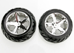 3773 Anaconda tires & All Star chrome wheels, assembled, glued (with foam inserts) (electric rear) (1 left, 1 right)