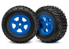 7674 Tires and wheels, assembled, glued (SCT blue wheels, SCT off-road racing tires) (1 each, right & left)